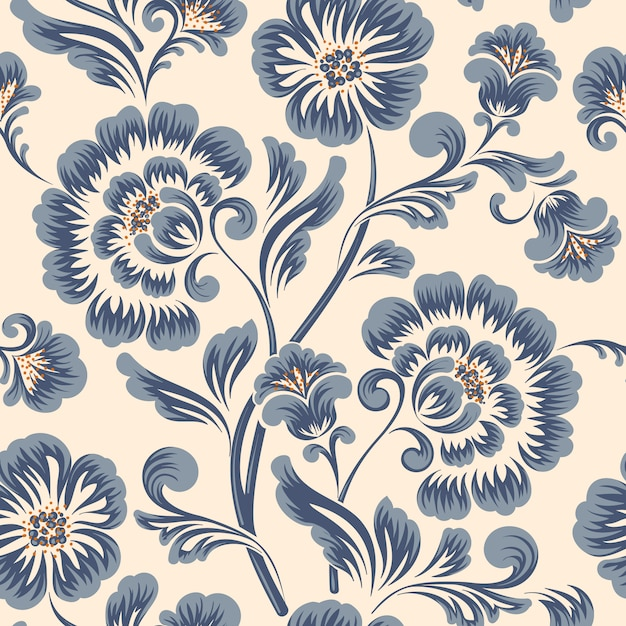 Classical luxury old fashioned flower pattern element Free Vector
