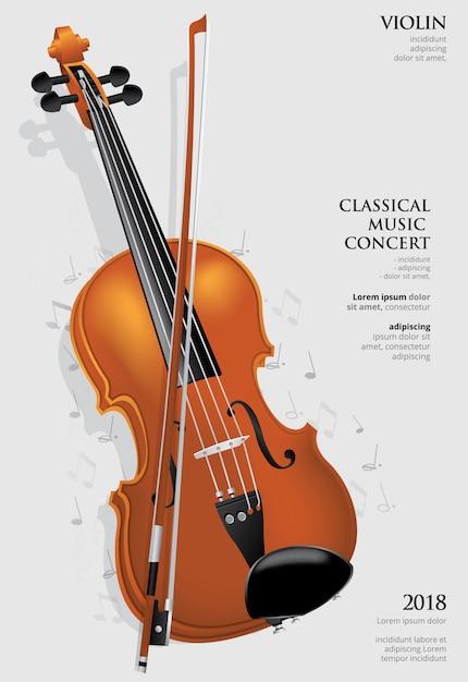 The classical music concept violin vector illustration Premium Vector