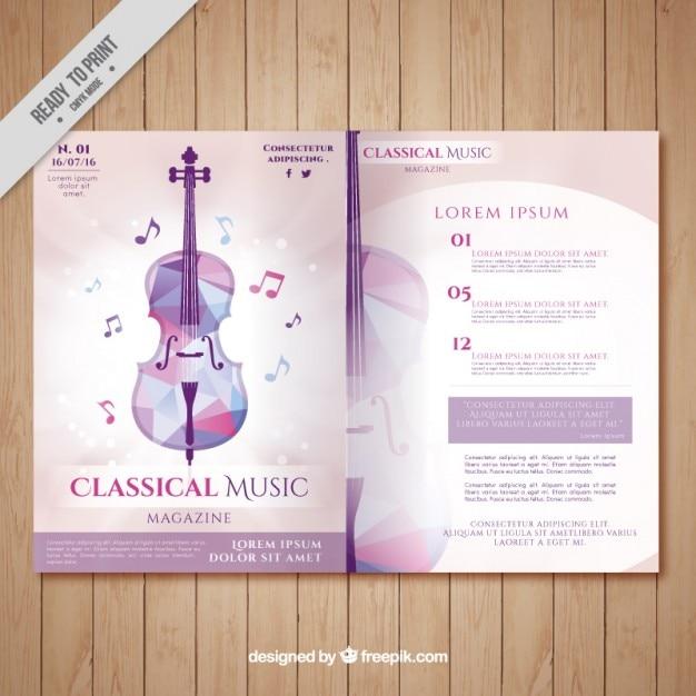 Classical music magazine with geometric violin Premium Vector