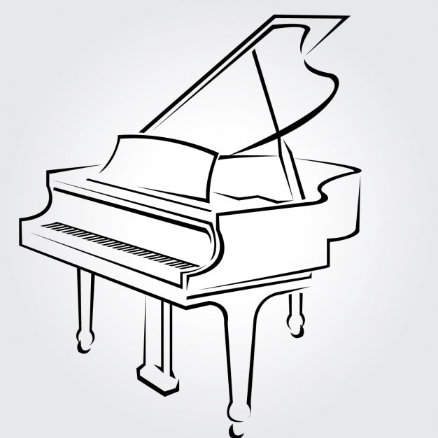 Line Drawing Keyboard : Classical piano drawn vector free download