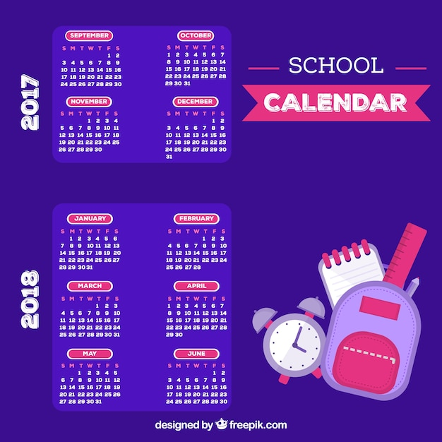 Classical school calendar with flat design