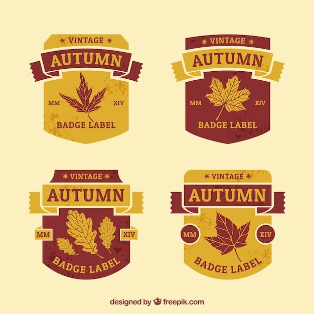 Classical set of vintage autumn badges