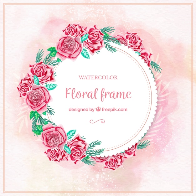 Classical watercolor floral frame with\ roses