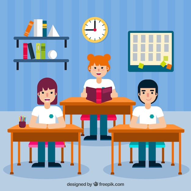 Classmates learning with flat design Free Vector