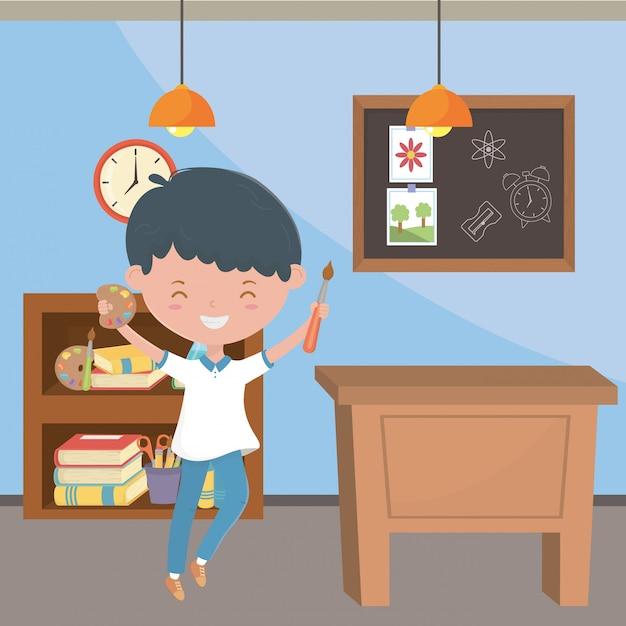Classroom and boy of school Free Vector