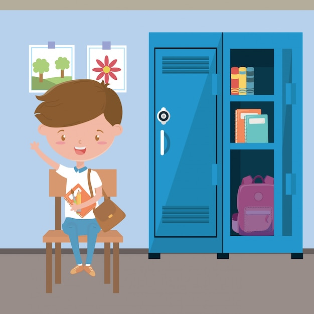 Classroom and boy at school Free Vector