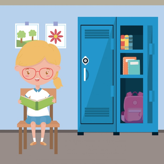 Classroom and girl of school Free Vector