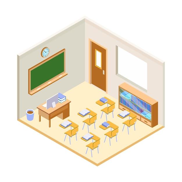 教室等角投影図 無料ベクター