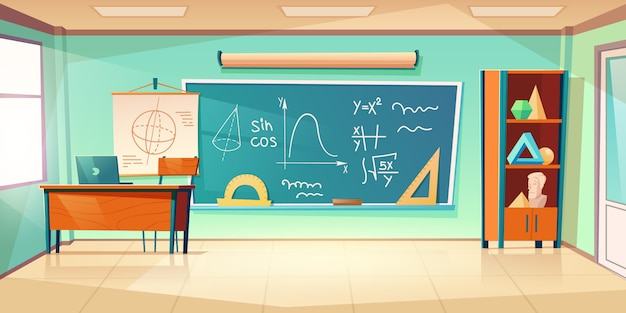Classroom for mathematics learning Free Vector