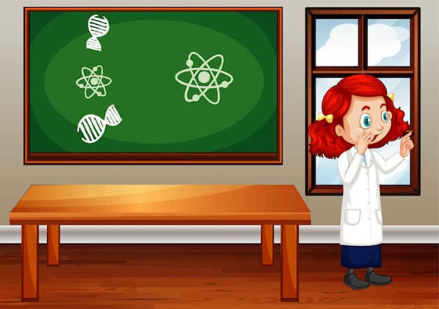 Classroom scene with science student inside Free Vector
