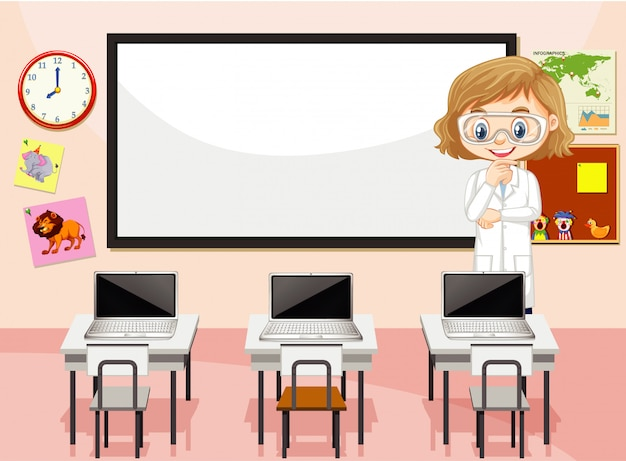 Classroom scene with science teacher and computers Free Vector