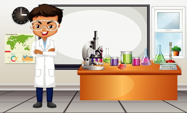 Classroom scene with science teacher and equipments Free Vector