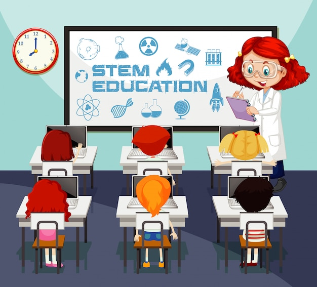 Classroom scene with science teacher and students learning Free Vector