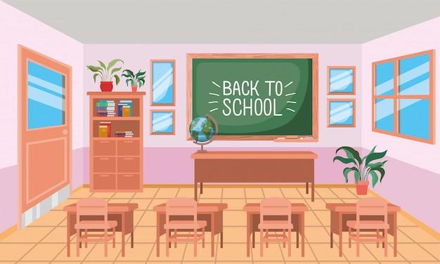 Classroom school with chalkboard scene Free Vector