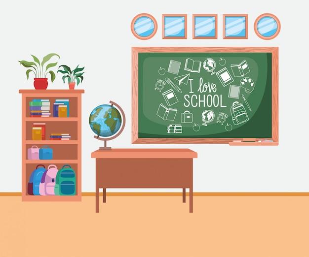 Scuola di classe con scena di lavagna Vettore gratuito