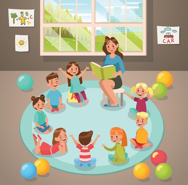In classroom teacher and children's activity in the kindergarten Premium Vector