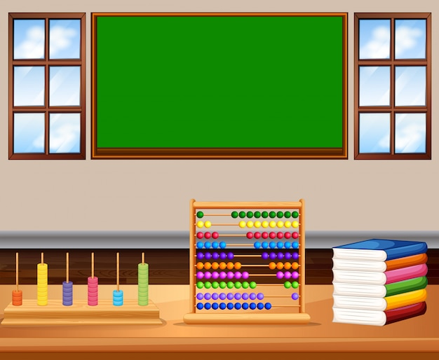 Classroom with board and books Free Vector