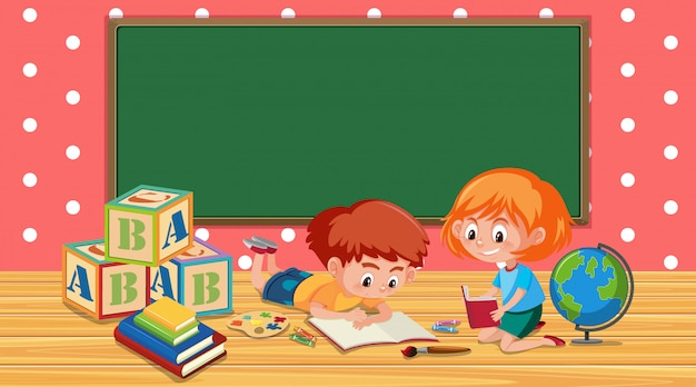 Classroom with boy and girl reading book Premium Vector