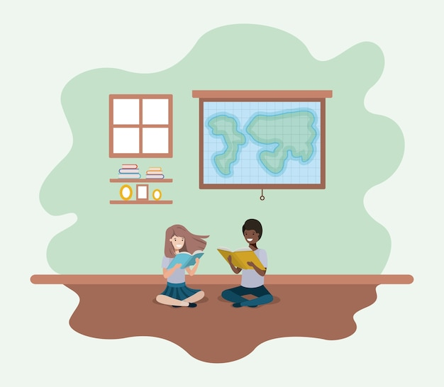 Classroom with ethnicity students sitting reading book Premium Vector
