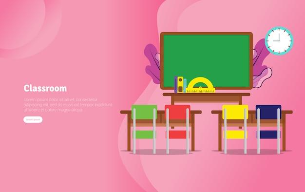 Classsroom concept educational illustration banner Premium Vector