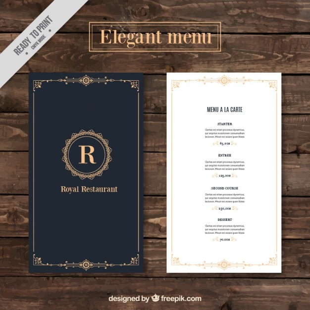 Classy Menu Restaurant Template Free Vector  A La Carte Menu Template