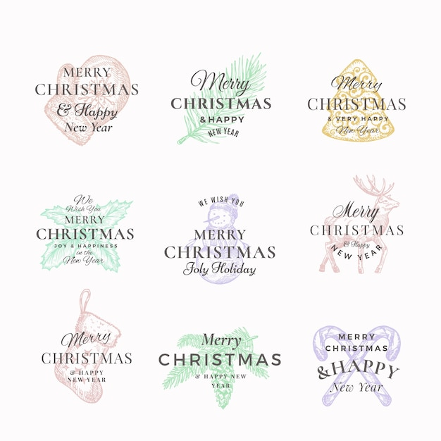 Classy merry christmas and happy new year abstract  labels or logo templates set. Free Vector
