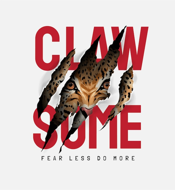 Claw some slogan with tiger face in claw mark illustration Premium Vector