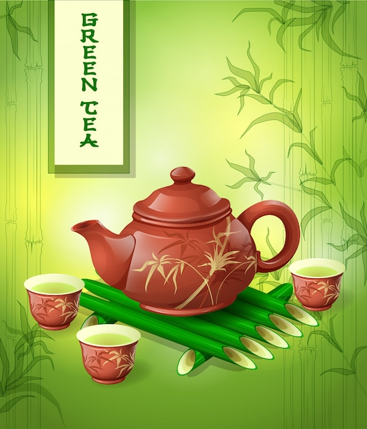 Clay teapot and three cups Premium Vector