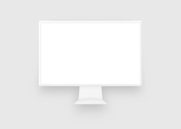 Clay white monitor computer Premium Vector