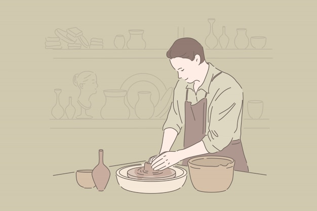 Clayware crafting, craftsmanship hobby, handmade pottery concept Premium Vector
