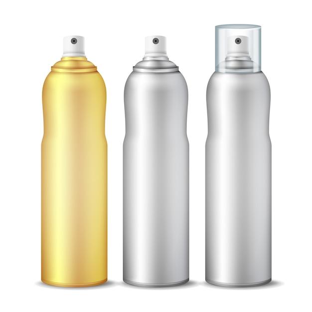 Clean 3d bottle can spray set Premium Vector