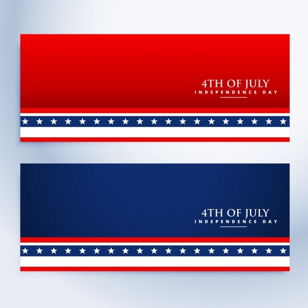 Clean 4th of july american banners Free Vector