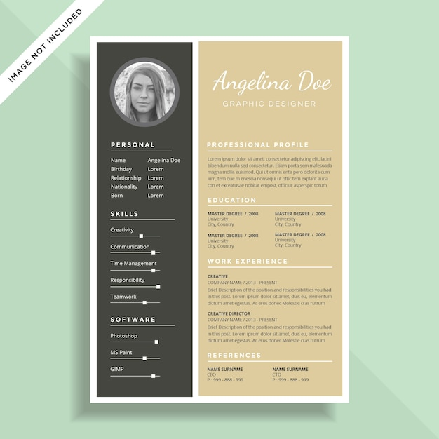 Clean And Minimal Resume CV Template Design Premium Vector