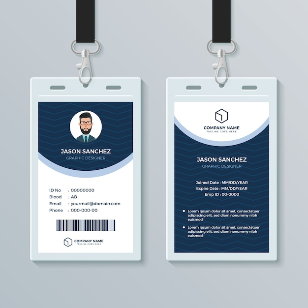 Clean And Modern Employee ID Card Design Template Premium Vector