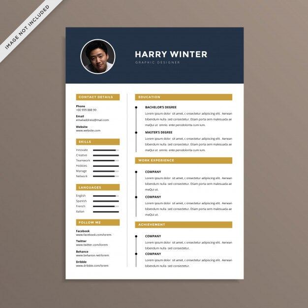 Clean And Professional Resume Cv Vector Premium Download