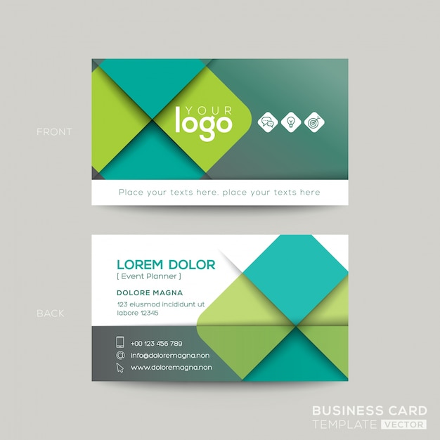 clean and simple green business card design vector free download