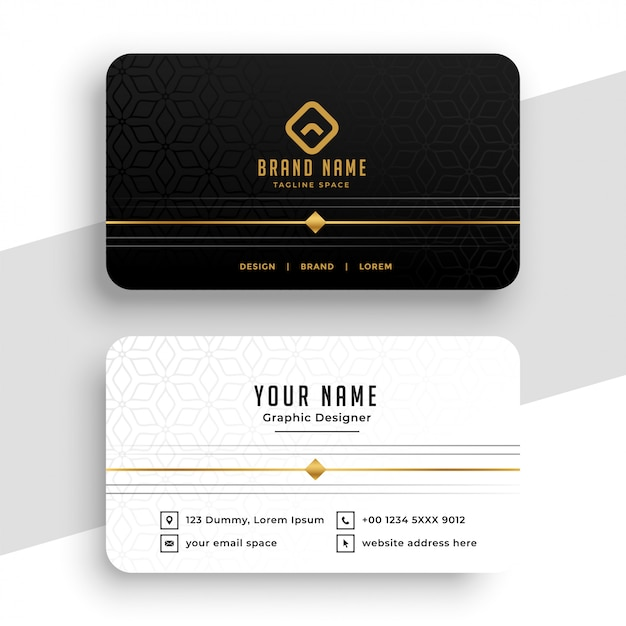 Clean black white and golden business card design Free Vector