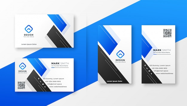Clean blue business card stylish design Free Vector