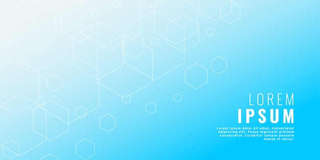 Clean blue hexagonal line medical style background Free Vector