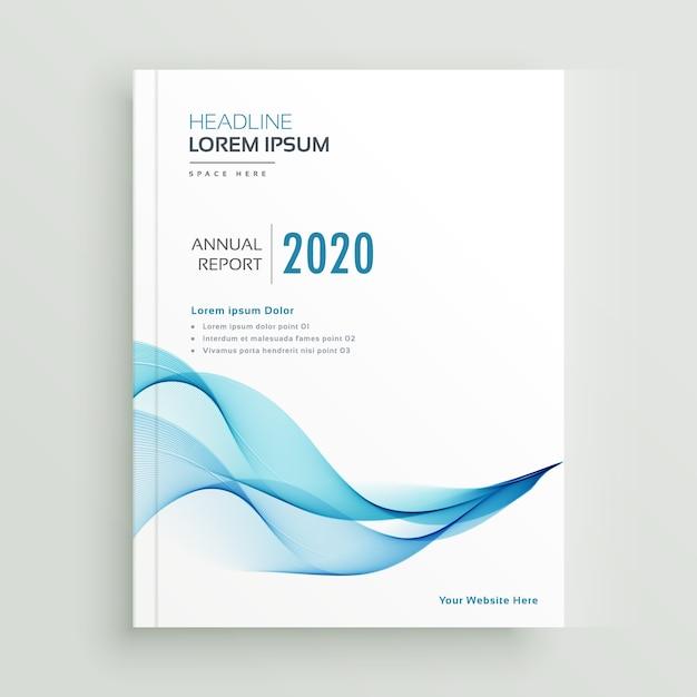 Дизайн синей волнистой деловой брошюры Premium векторы