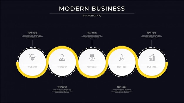 Clean business infographic process with line yellow color Premium Vector
