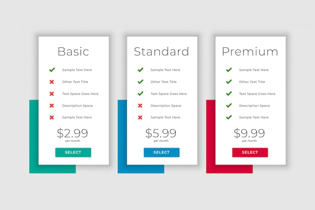 Clean business plans and pricing table display template Free Vector