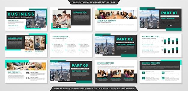 Чистый шаблон бизнес-презентации с минималистской концепцией Premium векторы