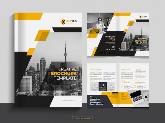 Чистый корпоративный складной шаблон бизнес-брошюры в формате а4. Premium векторы