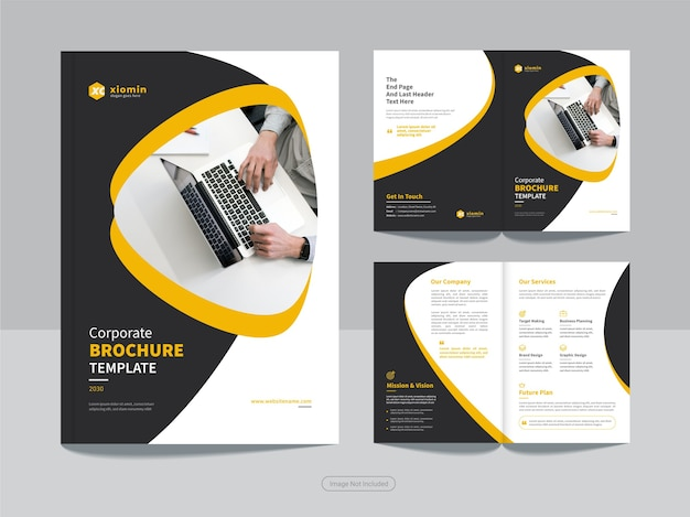 Clean corporate bi fold business brochure design template Premium Vector