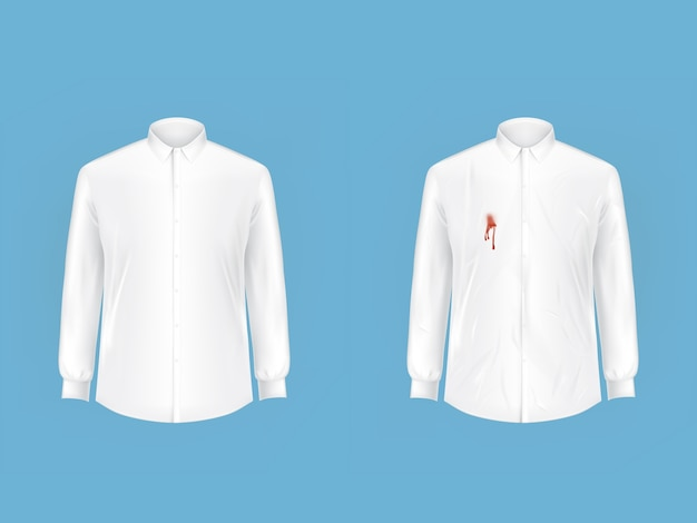 Clean and dirty shirt before after washing vector Free Vector