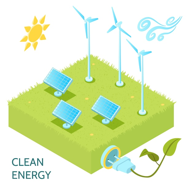 Clean energy isometric concept with solar and wind power symbols isometric Free Vector