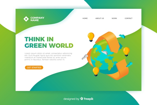 Clean energy landing page template Free Vector