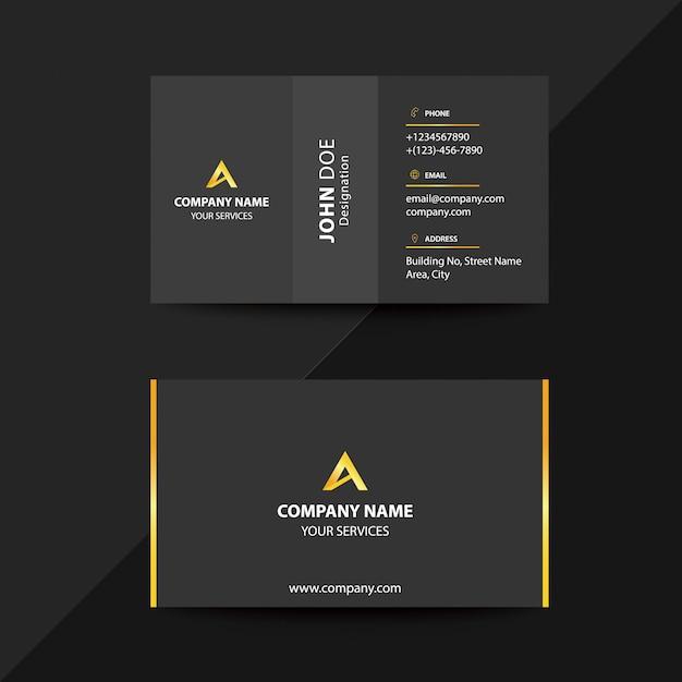 Clean flat design black and gold premium corporate business visiting card Premium Vector