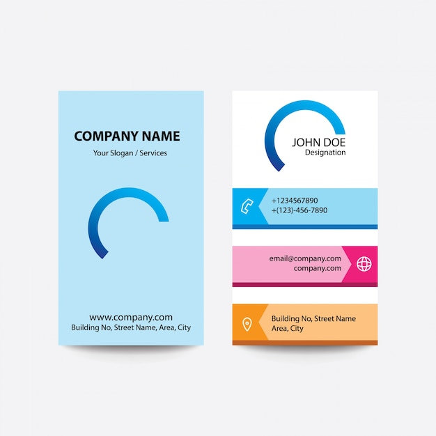 Clean Flat Design Fold Style Multi Colors Gradient Business Visiting Card Premium Vector
